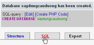 Hình 2: Vào SQL