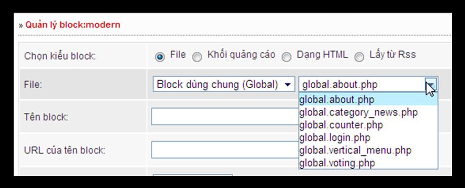 Hình 3: Các block dùng chung cho hệ thống