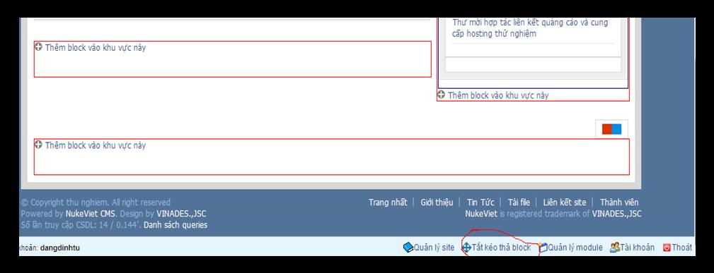 Hình 8: giao diện quản lý block tại trang chủ