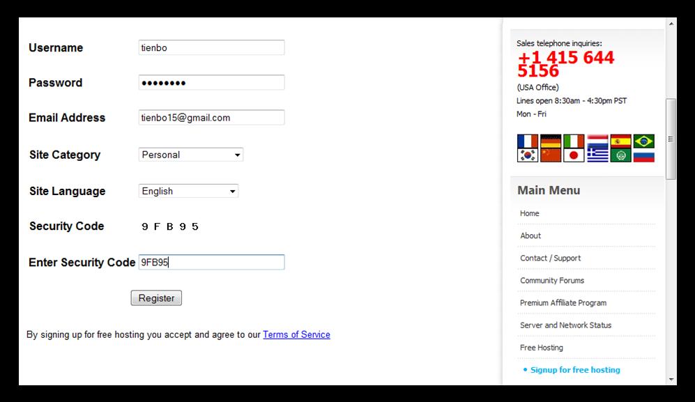 Hình 3: Nhập thông tin đăng ký