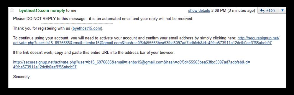 Hình 7: link đăng ký trong mail