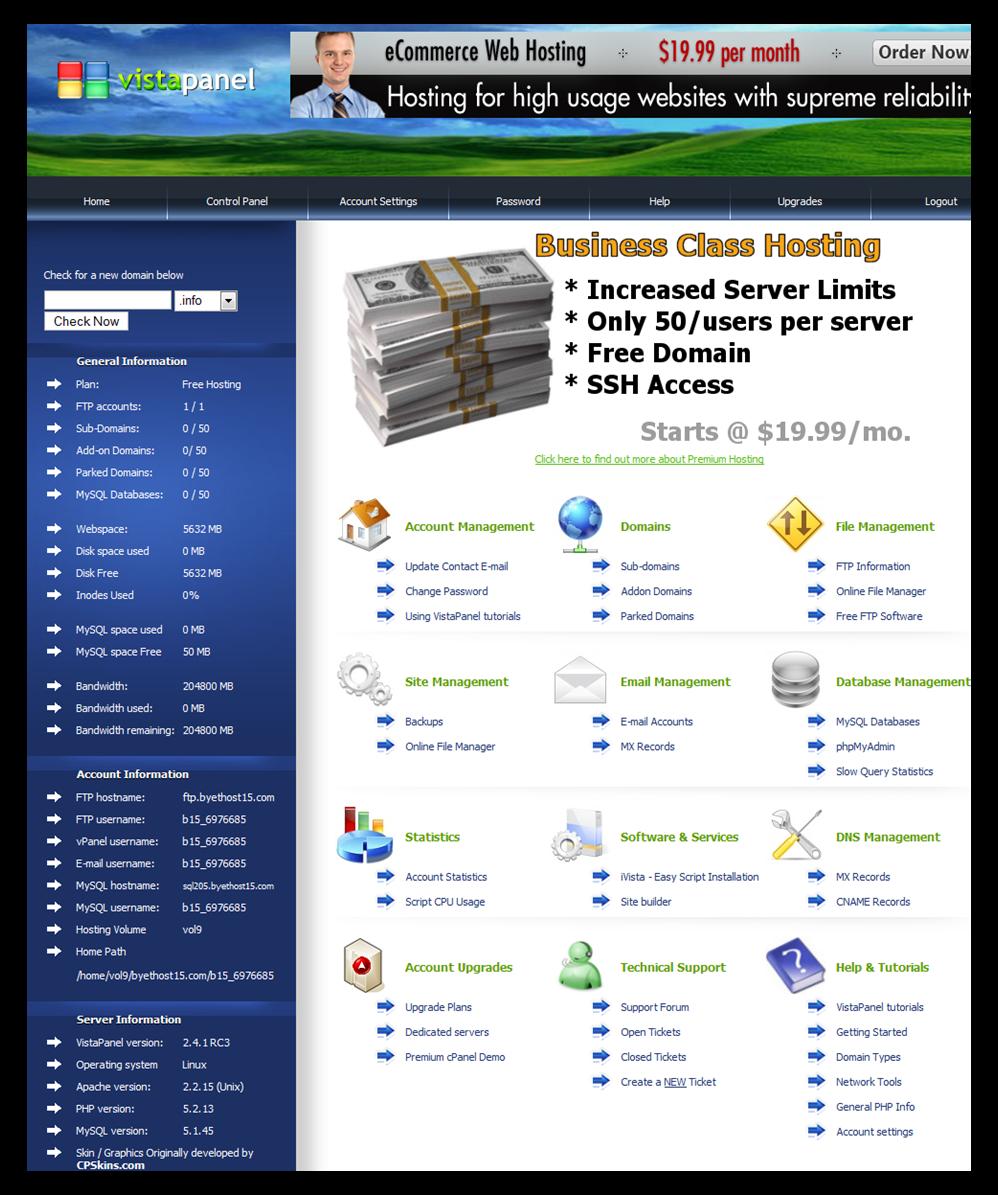 Hình 11: giao diện quản lý VistaPanel