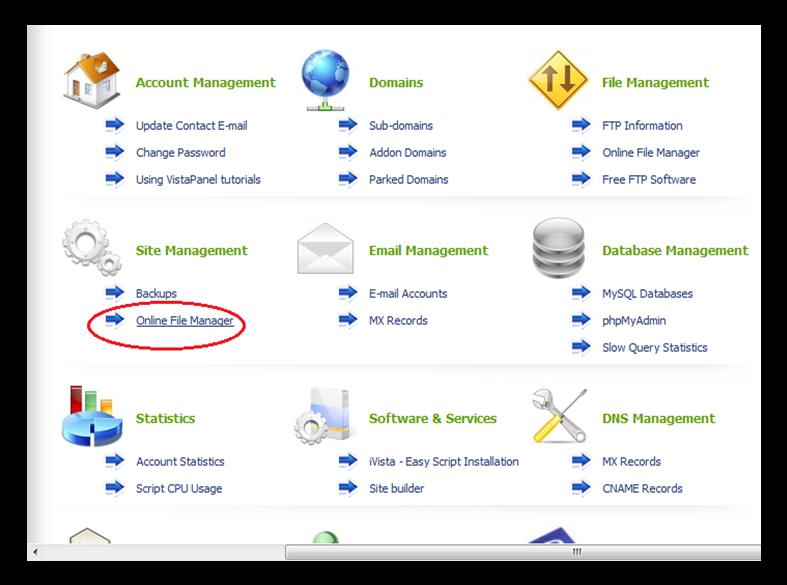 Hình 15: Chọn mục Online file manager