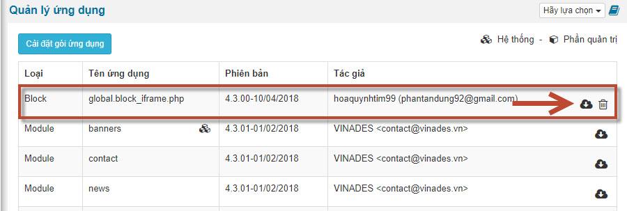 Hình 1. Ứng dụng cài đặt từ NukeViet Store sẽ có thể đóng gói lại