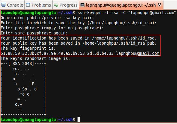 Tạo SSH key thành công
