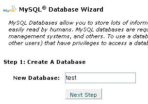 Hình 2: Tạo 1 cơ sở dữ liệu MySQL bằng Wizard, bước 1
