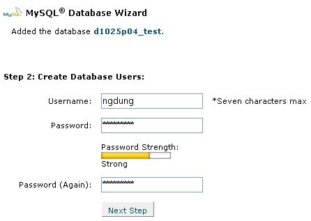 Hình 3: Tạo 1 cơ sở dữ liệu MySQL bằng Wizard, bước 2