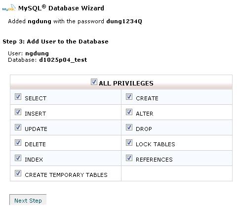 Hình 4: Tạo 1 cơ sở dữ liệu MySQL bằng Wizard, bước 3