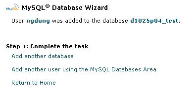 Hình 5: Tạo 1 cơ sở dữ liệu MySQL bằng Wizard, bước 4