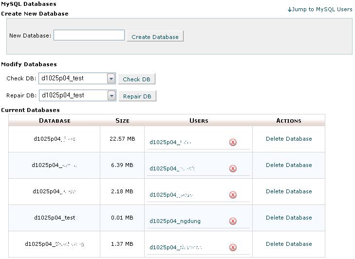 Hình 6: Màn hình quản lý cơ sở dữ liệu MySQL 1