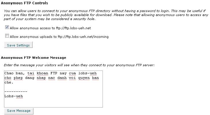 Hình 4: Quản lý tài khoản FTP nặc danh