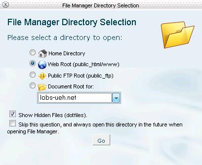 Hình 5: Hộp thoại chọn thư mục quản lý của File Manager