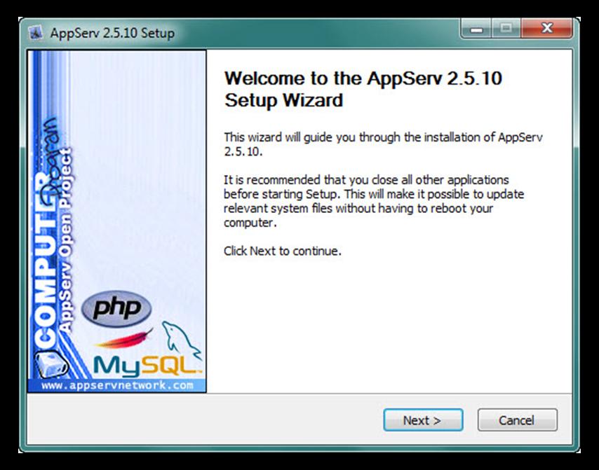 Hình 1: Cửa sổ Setup appserv-win32-2.5.7